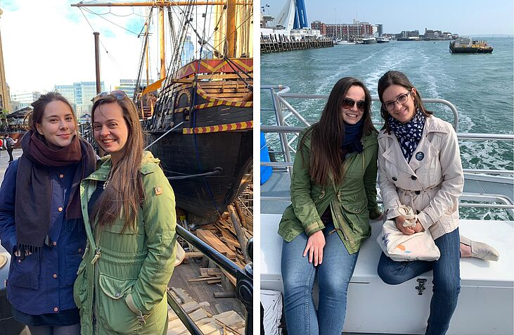 14 Helena Bacic, Frida Sagmeister and Lena Lindner in front of the Golden Hinde in London and on a harbour tour in Portsmouth - pictures by Tatjana Bacovsky