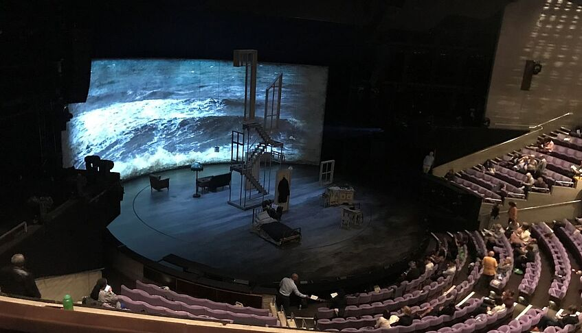 The Small Island stage during intermission at the National Theatre – picture by Jana Jodlbauer