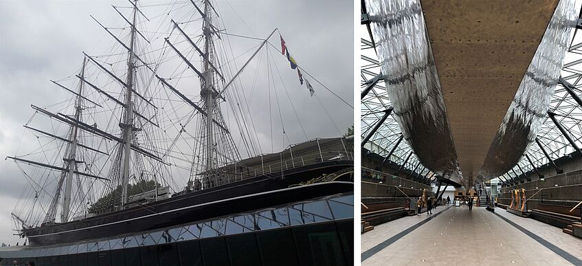 The Cutty Sark and its dry dock, and its brass clad underbelly – pictures by Manon Labrande and Esther Zitterl